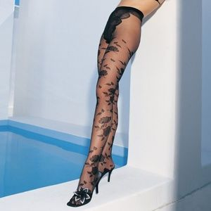 Floral Jacquard French Cut Pantyhose Tights